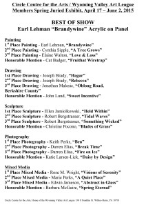 WVAL 2015 Spring Juried Winners